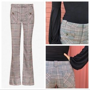 Smashing😻 FREE PEOPLE Glen Plaid Flared Pants 4